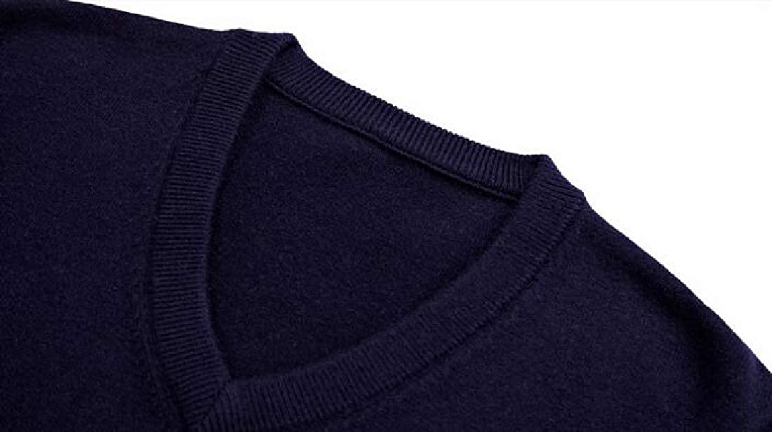 Jofemuho Mens Casual Business Solid Knit Long Sleeve V-Neck Pullover Sweaters