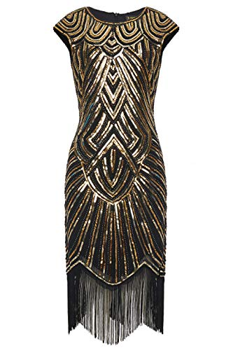 BABEYOND Women's Flapper Dresses 1920s Beaded Fringed Great Gatsby Dress Black Gold ()