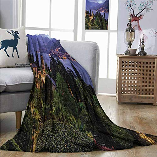 (Homrkey Throw Blanket Italian Lago Di Camo Lake Famous Coastal Village with Aerial View Picturesque Panorama for Summer W54 xL72 Blue Green)
