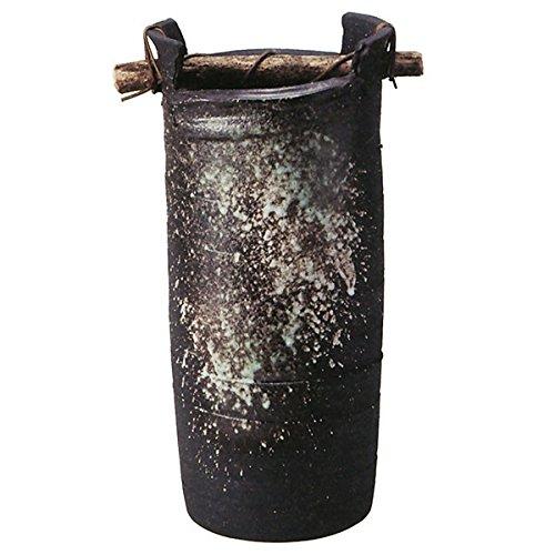 信楽焼 黒釉手桶傘立(全高55cm×全幅26.5cm) B075LL649X