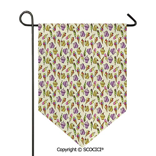 SCOCICI Easy Clean Durable Charming 28x40in Garden Flag Yummy Cupcakes Chocolate Party Cherry Cones Fruit Sweet Kids Nursery Theme Decorative,Multicolor Double Sided Printed,Flag Pole NOT Included