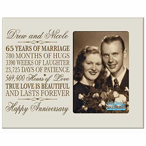 Personalized 65th Year Wedding Anniversary Gift for Couple Custom engraved 65th Wedding Anniversary Gifts Frame Holds 1 4x6 Photo 8