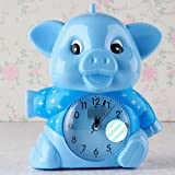 Huhgue Bell Alarm Clock for Kids Lovely Cartoon Animal Silent Alarm Clock with Night Light for Children Kids Students (Blue)
