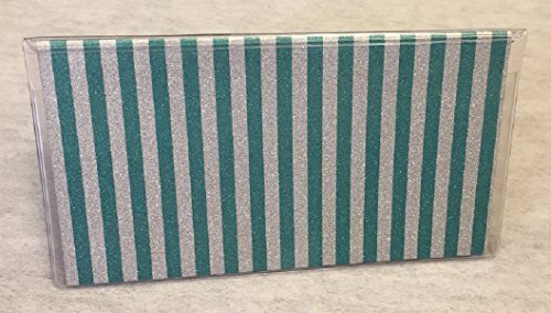 - Vinyl Checkbook cover, Glitter Teal Silver Stripe, Scrapbook style,Duplicate or Single Checks, No wait Ready to Ship