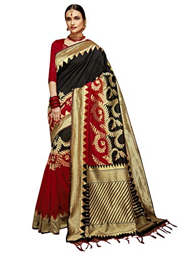 (Sarees for Women Banarasi Art Silk Woven Saree l Indian Ethnic Wedding Gift Sari with Unstitched Blouse)