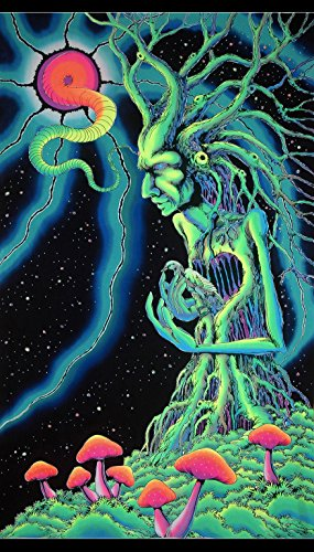 Psychedelic Tapestry 'Tree Spirit' - UV Active Wall-Hanging - Hand-Painted and Silkscreen Batik Wall-Hanging - Trippy Wall Art - Black Light Trippy Tapestry - Fantasy - Silk Tapestry Black