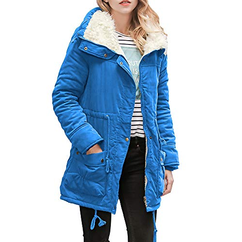 GOVOW Women's Parka Outwear Jacket Lightweight Drawstring Hooded Warm Long Coat Collar Coat(XXL,#Blue) ()