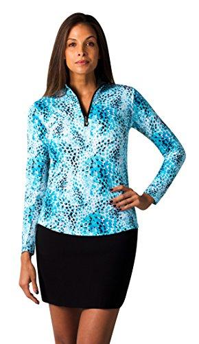 SanSoleil Women's SolCool UV 50 Long Sleeve Print Zip Mock Top - Wildcat Turquoise - Small Cat Womens Golf Shirt
