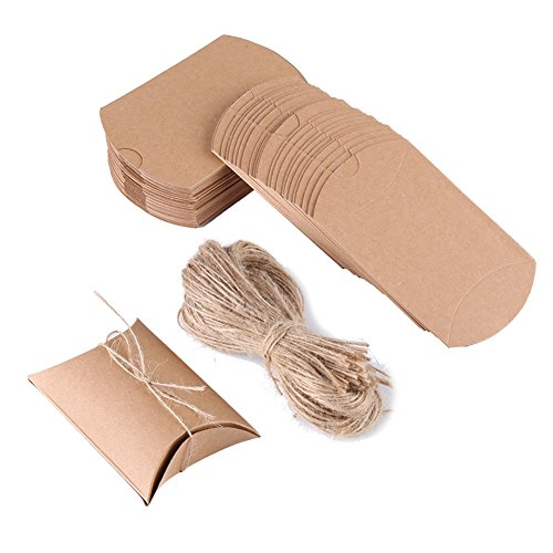 100pcs Mini Brown Vintage Kraft Pillow Shaped Gift Boxes Decorated with Hemp Cord Handle for Christmas Wedding Favor Thanks Candy Packaging by Walfront