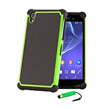 32nd® Shock proof defender heavy duty tough case cover for Sony Xperia Z1 (L39H) + screen protector, cleaning cloth and touch stylus - Green