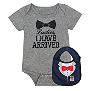 iCrazy Baby Boys' Funny Gentleman bodysuit with Bib (3-6 Months, Gray)