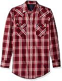 Wrangler Men's Size Big & Tall Long Sleeve Snap Work Shirt, red/Burgundy Plaid, LT