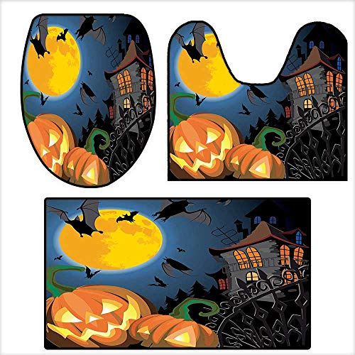qianhehome 3 Piece Bathroom Mat Set Gothic Scene with Halloween Haunted Party Theme Trick or Treat for Kids Soft Shaggy Non Slip 16.9