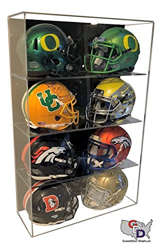 GameDay Display Acrylic Wall Mount 8 Eight Mini Helmet Display case by - Mini Helmet Wall Mount