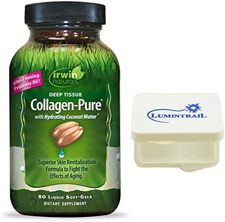 Irwin Naturals Deep Tissue Collagen-Pure Intense Skin Nourishment Aging Skin Revitalization with Hydrating Coconut Water Evening Primrose Oil - 80 Liquid Soft-Gels - Bundle with a Lumintrail Pill Case