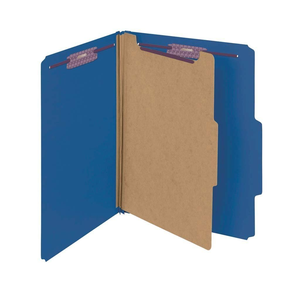 Smead Pressboard Classification File Folder with SafeSHIELD Fasteners mvcDqs, 30 Count (Dark Blue)