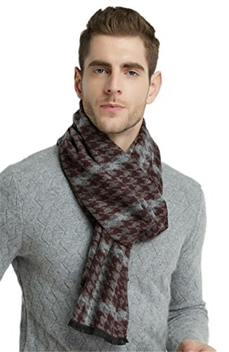 Brown Houndstooth Brushed Warm Soft Cashmere Feel Men's Scarf Winter