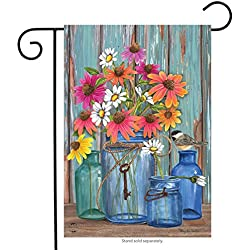 "Briarwood Lane Farm Fresh Flowers Spring Garden Flag Mason Jars 12.5"" x 18"""