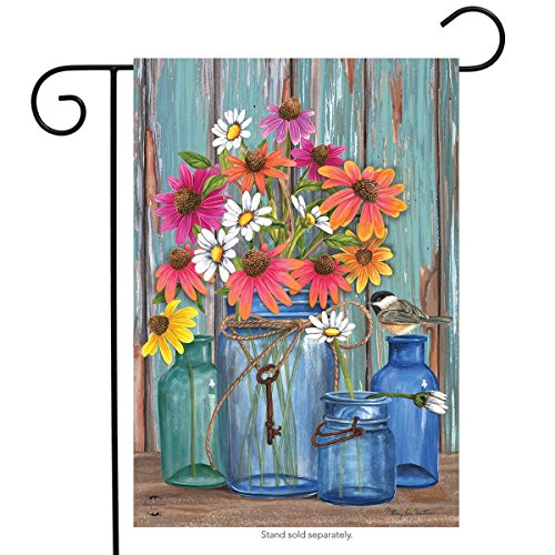 Farm Fresh Flowers Spring Garden Flag Mason Jars 12.5