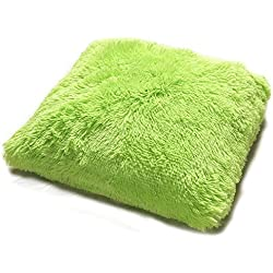 "Kashi Home Decorative 18"" x 18"" PV Fur Throw Pillow For The Living Room, Bedroom Or Anywhere Else, Decorative Pillow with a Comfortable Fill, Lime"