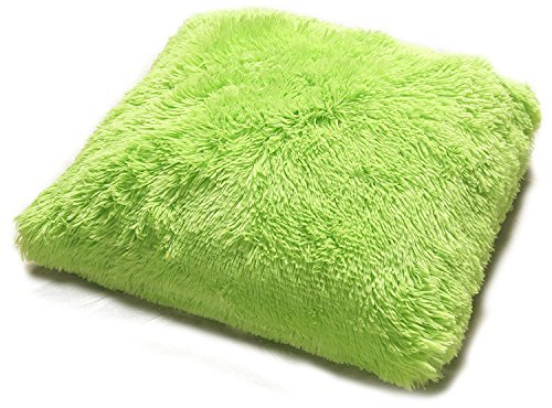 Kashi Home Decorative 18'' x 18'' PV Fur Throw Pillow For The Living Room, Bedroom Or Anywhere Else, Decorative Pillow with a Comfortable Fill, Lime by Kashi Home
