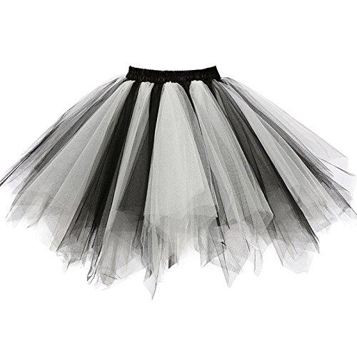 Girstunm Women's 1950s Vintage Petticoats Bubble Tutu Dance Half Slip Skirt Black White S/M]()