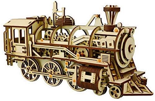 - 3D Wooden Puzzles - Toy Locomotive Train- Mechanical Model - Brain Teaser Games for Adults and Teens DIY Self-Assembly Constructor Set Craft Kit