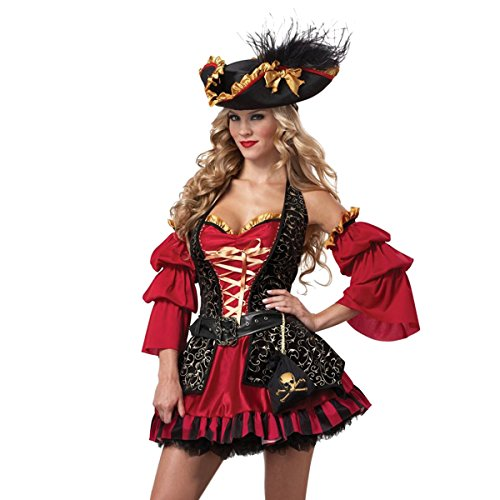 Quesera Women's Spanish Pirate Dress Adult Halter Lace Up Vest Halloween Costume,Red,Tag size M=US size 2-8