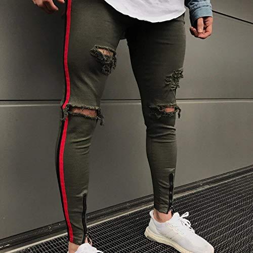 Legging Chern Strappato Grün Con Hop Casuali Moto Elasticizzati Uomo Effetto Pantaloni Jeans Skinny Da Fori Invecchiato Denim Vintage Giovane Slim Hip Fit FgORqg1