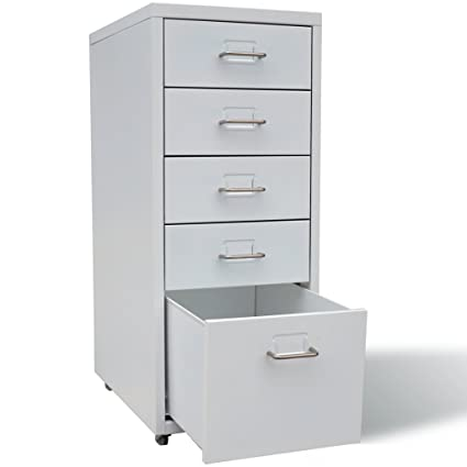 Festnight 5 Drawers Mobile Metal File Cabinet with Rolling Casters Heavy Duty Metal Frame Storage Letter