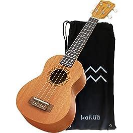 Kailua Soprano Ukulele for Beginners with Aquila Strings – 21 Inch Hand Crafted Mahogany Wood Ukulele Starter – Black…