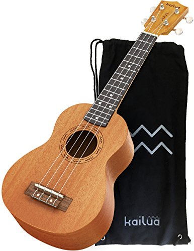 Kailua 4 String Soprano Ukulele - Hand Crafted Mahogany Wood Vintage Style Hawaiian Musical Instrument - Best Ukulele to Learn How to Play - Black Nylon Bag Included as Carrying Case from Kailua