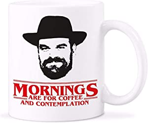 YellowStar.CN52 - Whitelf Chief Hopper Quote Mug Mornings For Coffee Contemplation Mugs Stranger Things Cup with Stirring Spoon