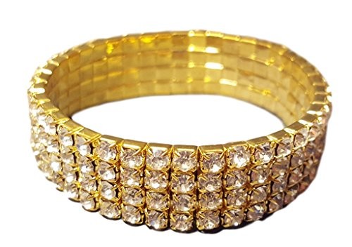 Wholesale Imports 4 Row Gold with Clear Rhinestone Stretch Bracelet