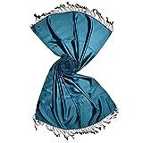 Turquoise & Black Reversible Mulberry Silk Pashmina Scarf | Luxurious Shawl, Wrap, Stole | by Pashmina Palace