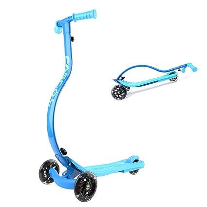 Fascol Scooter Patin Plegable 3 Ruedas Luminosas para Niños de Más de 4 Años MAX Carga 60 kg,Azul
