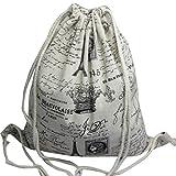 Unisex Men Women Vintage Canvas Drawstring Backpack Travel String Sport Outdoor Gym Bag Cinch Sack Pack (A)