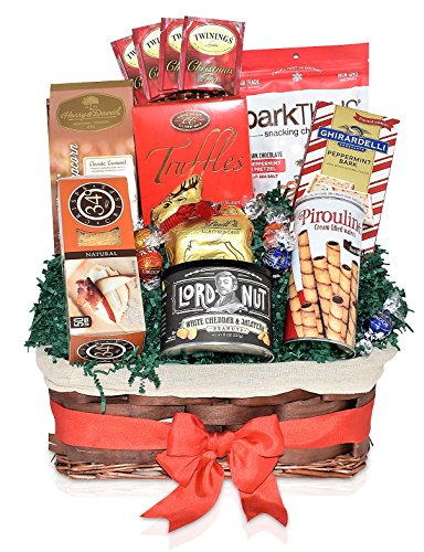 Christmas Lindt & Ghirardelli Chocolate Variety Gift Basket - Truffles, Peppermint Bark, Pretzels, Wafers, Nuts, Caramel Popcorn and more Christmas Gift Pack