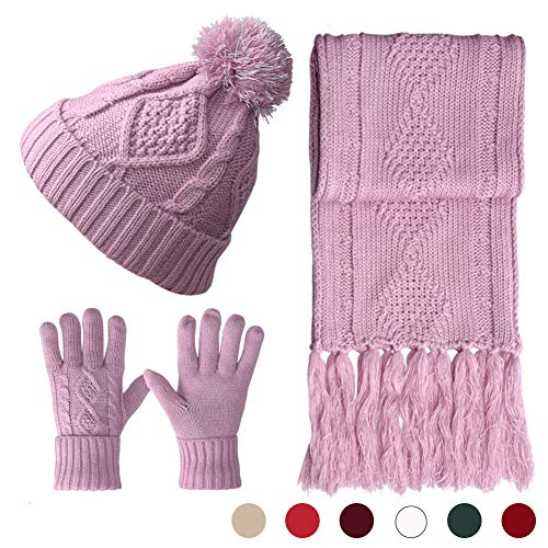 Hat Gloves Scarf Set Knit Soft Pompom Touch Screen New Warm 3 Peices Cold Weather Gift Winter for Women Girl