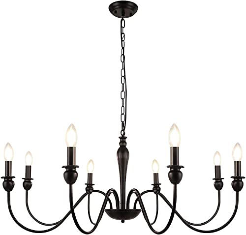 LynPon 8 Lights Farmhouse Chandelier Black Rustic Industrial Chandeliers Candle Ceiling Light Fixture
