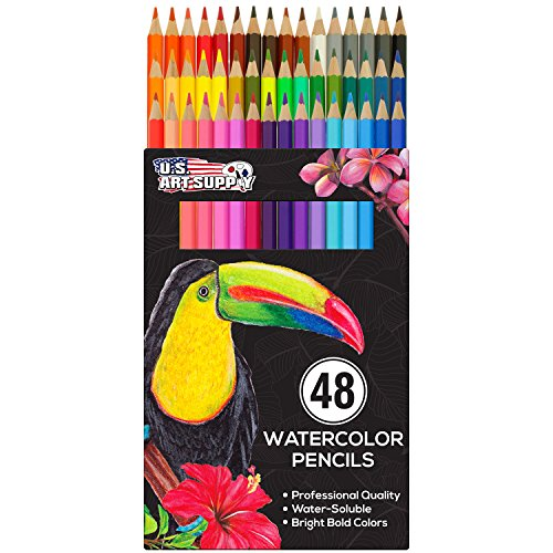 U.S. Art Supply 48 Piece Watercolor Artist Grade Water Soluble Colored Pencil Set, Full Sized 7 Inch Pencil - Sets Set Pencil