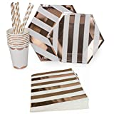 Rose Gold Paper Plates, Napkins, Dessert Plates, Dinner Plates, Paper Straws, Disposable Party Cups Party Supplies (69 PC Tableware Set)