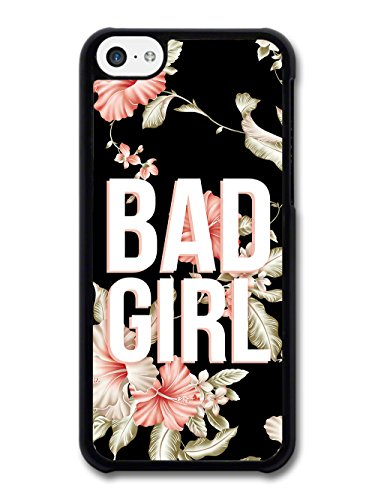 Bad Girl Design in Pink and White on Tropical Print case for iPhone 5C
