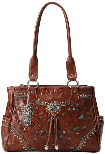 American West Lady Lace Multi Compartment Shoulder Bag,Mocha Tan/Turquoise,One Size ()