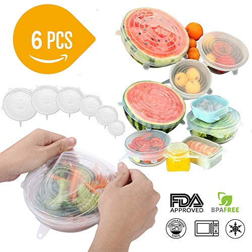 Silicone Stretch Lids, 6 Pack Reusable Lids, Durable and stretchable to Fit Various Sizes for Bowl Covers, Cups, Pet Canned, Pots and Pans in Microwave, Dishwasher and Freezer