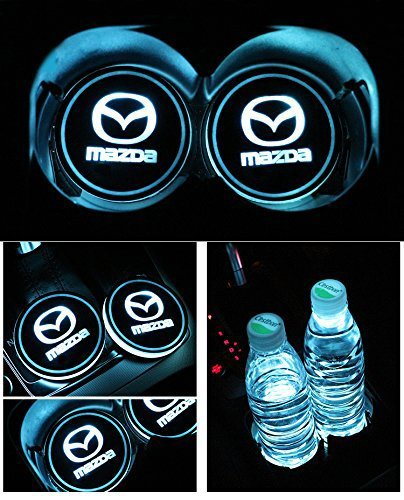 JSAMZ Car Logo LED Cup Pad led Cup Coaster USB Charging Mat Luminescent Cup Pad LED Mat Interior Atmosphere Lamp Decoration Light (Mazda)