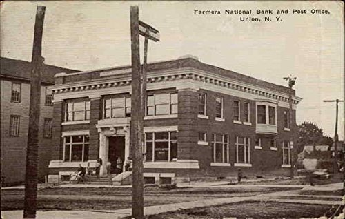 Farmers National Bank And Post Office Union  New York Original Vintage Postcard