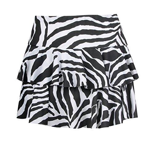 Forever Women's Animal Zebra Print Rara Mini Skirt (ML-10/12, Black/White)