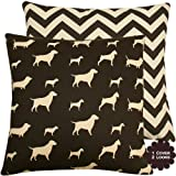"Best in Show Collection - 18"" Square Double Sided Throw Pillow Cover - Dog and Chevron - Chocolate Brown and Cream / Natural White Hues - 1 Cover, 2 Looks"