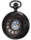 KS Men's Black Hollow Case Mechanical Pocket Watch Retro KSP032